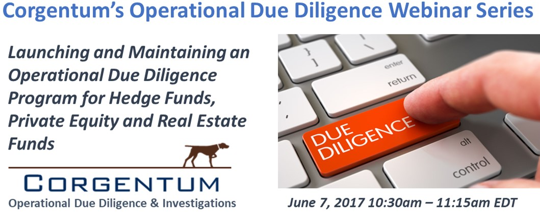 corgentums next webinar announced for june launching and maintaining an operational due diligence program